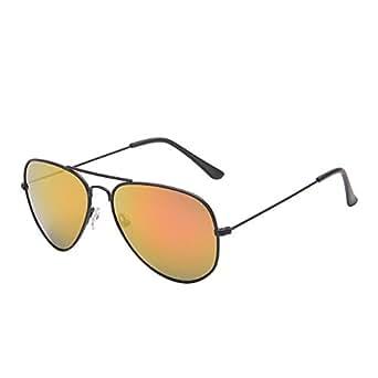 Retro Mirror Aviator Sunglasses Flash Tinted Lens Eyeglasses for Women Men UV400 (Black / Pink)
