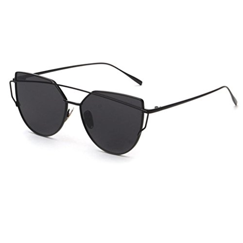 Transer Fashion Twin-Beams Classic Women Metal Frame Mirror Sunglasses Cat Eye Glasses (Black)