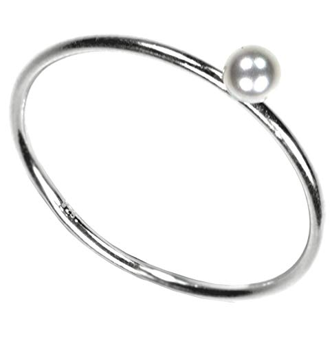 Sterling Silver Simulated Pearl Stacking Ring Size 7