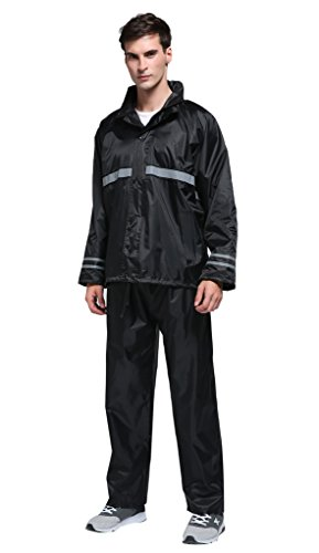 Maiyu Motorcycle Rain Suit Waterproof Rain Jacket and Rain Pants Rain Gear For Adult RS01 (Best Waterproof Motorcycle Suit)
