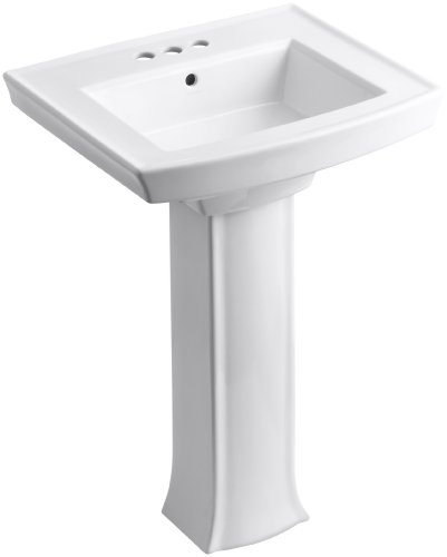 "KOHLER K-2359-4-0 Archer Pedestal Bathroom Sink with 4"" Centers, White"