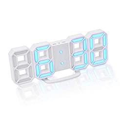 3D Digital Alarm Clock+ Charging Plugs,Modern Night Light Clock, Best Decorative LED Number Time Clock for The Wall, Table, Bedside, Desk. Modern Unique Design Alarm Clock (White/Blue)