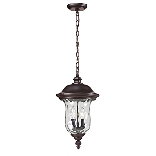 - Z-Lite 533CHM-RBRZ Armstrong Outdoor Chain Light, Aluminum Frame, Bronze Finish and Clear Water Glass Shade of Glass Material