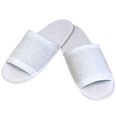 Linens Limited - Zapatillas Spa sin puntera de tela de toalla - Blanco: Amazon.es: Hogar