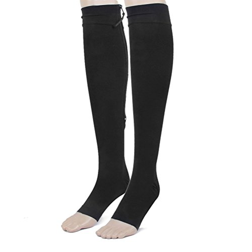 Tinksky 1 Pair Zippered Compression Stockings, Open Toe, Knee High ()