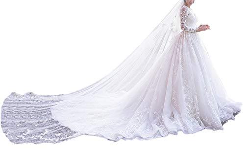 - Yisha Bello Women's Chapel Train Wedding Dresses for Bride A-Line Lace Applique Long Sleeve Bridal Gowns 8 Ivory