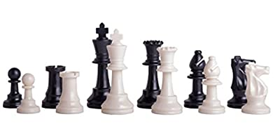 """US Chess Federation's Triple Weighted Plastic Chess Pieces - 3.75"""" King - Black & White"""