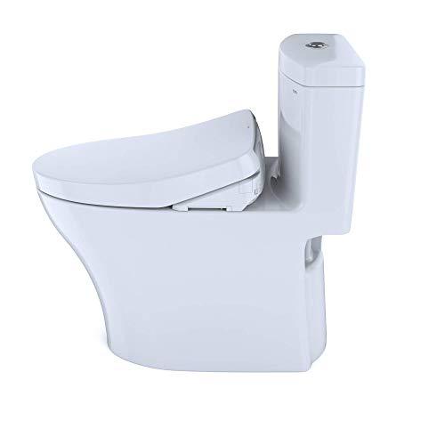 TOTO MW6463046CEMFG#01 WASHLET+ Aquia IV One-Piece Elongated Dual Flush 1.28 and 0.8 Toilet with S500e Electric Bidet…