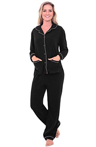 Alexander Del Rossa Womens Fleece Pajamas, Long Button Down Pj Set, Medium Black (A0324BLKMD)