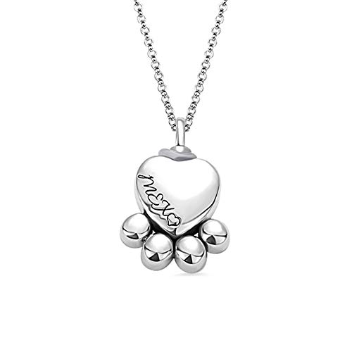 (Getname Necklace Custom Heart Cat Dog Pet Paw Print Urn Necklace for Ashes 925 Sterling Silver Personalized Engraved Urn Necklace Memorial Gifts)
