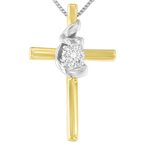 Original Classics 10K Two-Toned Gold Cross Knot Diamond Pendant Necklace (0.1 cttw, H-I Color, SI2-I1 Clarity)