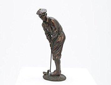 Bronze Man Golfer Resin Stone Statue (Golf Decor For Home)