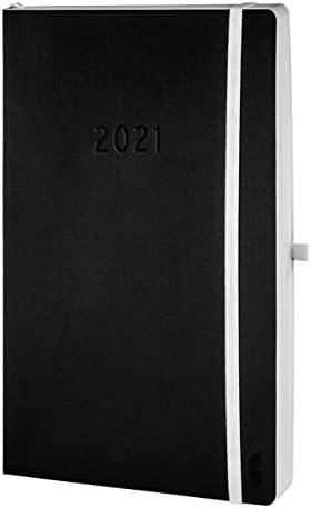 Chronoplan 50941 Buchkalender Kalendarium 2021, A5 Softcover (135x210mm, 1 Tag auf 1 Seite), schwarz