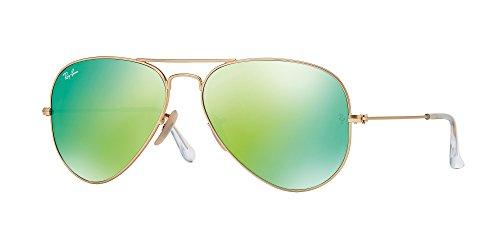 Ray Ban RB3025 112/19 58mm Blue Green Mirror Aviator Sunglasses Bundle-2 Items ()