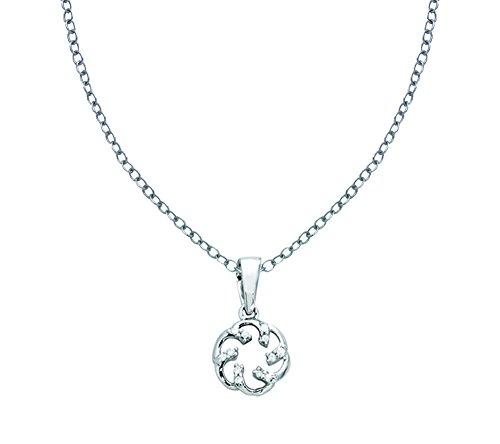 Or Blanc 14 ct Pendentifs Diamant en forme de rond, 0.04 Ct Diamant, GH-SI, 0.56 grammes.