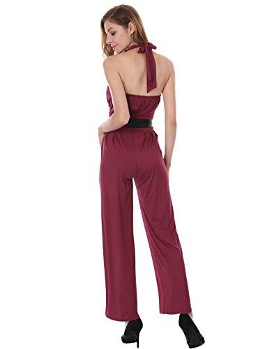 Allegra K Women's Sleeveless Halter Neck Wide Leg Cocktail Jumpsuit with Belt