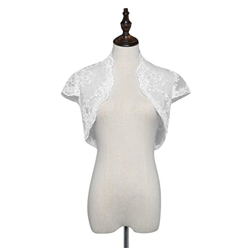 Bolero Bridal Jackets (Dressyu Women's Lace Cap Sleeves Tulle Wedding Shrug Bridal Bolero Jackets Ivory US18W)