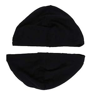B Blesiya Set de 2pièces Chapeau Bonnet de Nuit Sommeil en Lait Soie Coiffure Soin Cheveux de Femme Homme - Noir 5