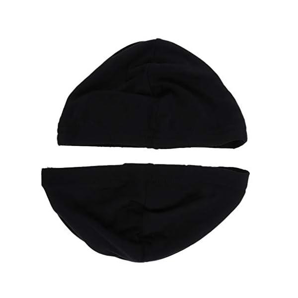 B Blesiya Set de 2pièces Chapeau Bonnet de Nuit Sommeil en Lait Soie Coiffure Soin Cheveux de Femme Homme - Noir 1