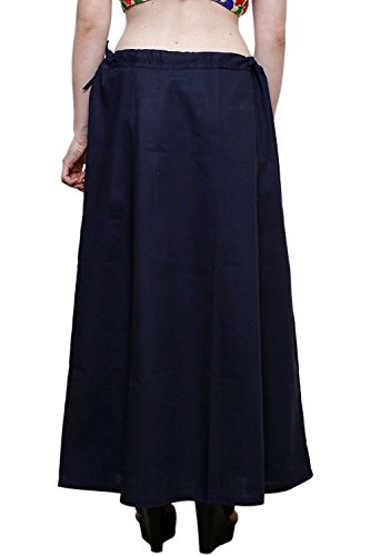 Aurielle Rogisse Mujeres Sari Algodón Algodón Enaguas Solid Inskirt Bollywood Cosidas Forro Enaguas Navy blue