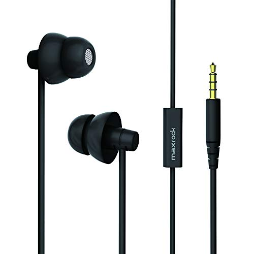 MAXROCK Sleep Earplugs - Noise Isolating Ear Plugs Sleep Earbuds Headphones with Unique Total Soft Silicone Perfect for Insomnia, Side Sleeper, Snoring, Air Travel, Meditation & Relaxation(Black)