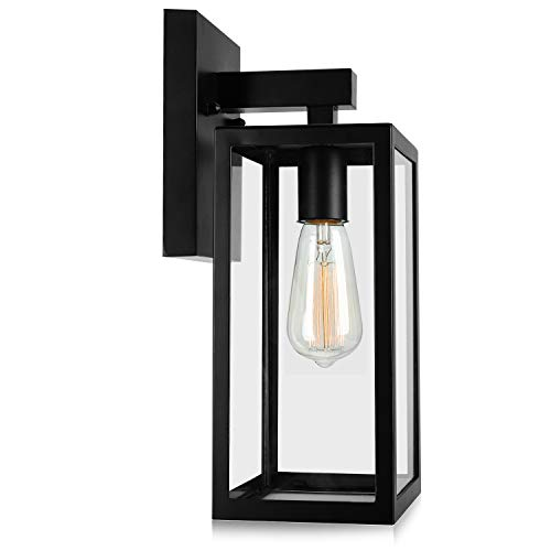 Outdoor Wall Lantern, Exterior Waterproof Wall Sconce Light Fixture, Matte Black Anti-Rust Wall Mount Light with Clear Glass Shade, E26 Socket Wall Lamp for Porch Entryway Doorway (Bulb Not Included) (Outdoor Fixtures Sconce Lighting)
