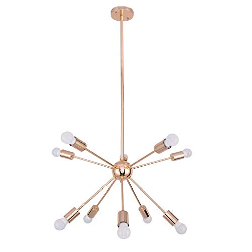 IslandseTen-Light Sputnik Chandelier Brushed Brass Modern Pendant Lighting Gold (Chandelier Vacuum)