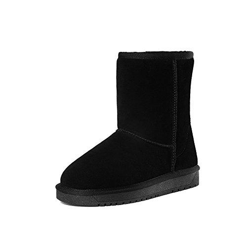 Suede Platform BalaMasa Closure Round Boots No Black Womens Toe pT5TYq