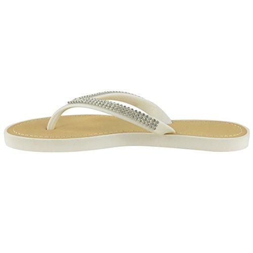 Moda Donna Assetata Diamante Infradito Sandali Jelly Sandali Estate Beach Toe Post Scarpe Bianco