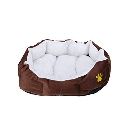 Pet Dog Bed Warming Dog House Soft Material Nest Dog Baskets Fall and Winter Warm Soft Fleece Mat Kennel for Cat Puppy,Coffee,S