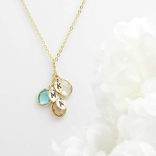 Birthstone Initial Necklace Gift for Her Bridesmaid Gift Citrine Wedding Proposal Initial Leaf Necklace Birthstone Jewelry for Women Mothers Day Gift Mothers Day Gifts from Daughter - BSON-L-D (Gold Citrine Leaf)