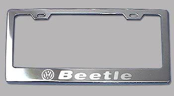 Screw Caps 2 vw BEETLE STAINLESS STEEL Chrome License Plate Frame