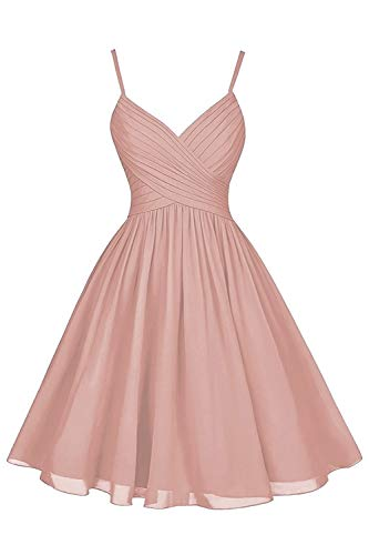 Dusty Rose Wedding Bridesmaid Dresses Short Knee Length A-Line V-Neck Chiffon Cocktail Party Dress with Pockets