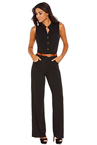 roswear Women's Sexy Plunge V Neck Belted Wide Leg Jumpsuits Dress