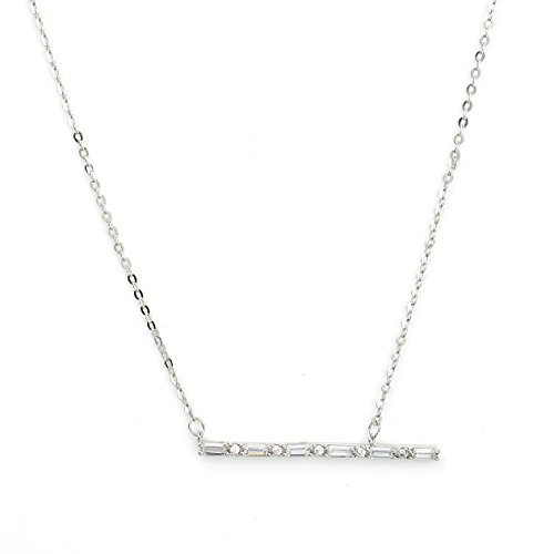 Sleek Silver (White Gold) Tone Designer Necklace with a Combination of Baguette & Brilliant Cut Swarovski Style Crystals (Silver Bar) Baguette Necklace