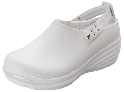 Dickies Footwear CONQUEST Women's Axiom Leather Clog Embossed White 6 M US