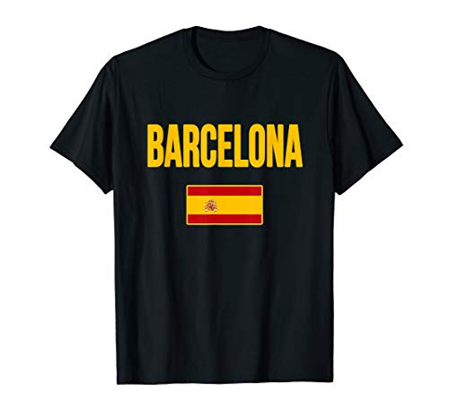 Barcelona Spain T-shirt Spanish Flag Espana Tourist ()
