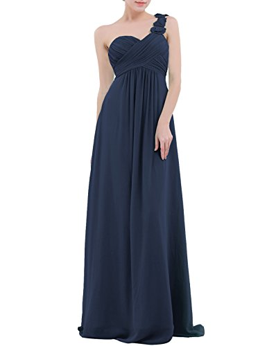YiZYiF Chiffon Applique One Shoulder Long Bridesmaids Party Dress Navy Blue -