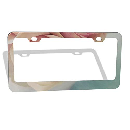 MUMO Art Flowers License Plate Frame, 2 Pcs 4 Holes Aluminum Car Licence Plate Holder Covers for All Standard US - Sleek Car Accessories, Gorgeous Covers for License Plates