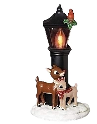 Rudolph and Clarice By Lamppost 7.25 Inch Resin Stone Flickering Night Light