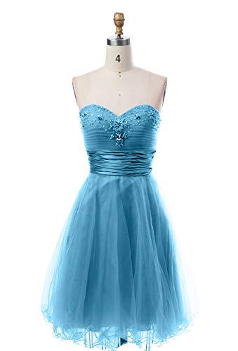A Steine Blau Suessig Rock Abendkleider Mini Damen mit Partykleider Kurzes Charmant Promkleider Cocktailkleider Linie qfxC6H8w