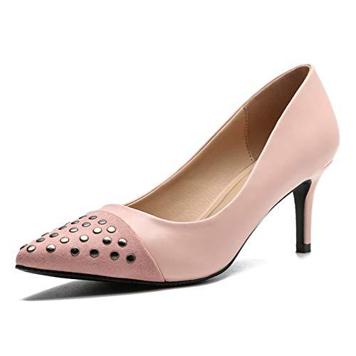 (CYBLING Women's Sexy Rivet Mid Heel Stilettos Ladies Pointed Toe Slip On Mid Heel Dress Party Pumps Pink)