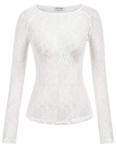 Women's Sexy Sheer Mesh Tee Clubwear See Through Tops(M,White Lace) (Sexy Shimmer)
