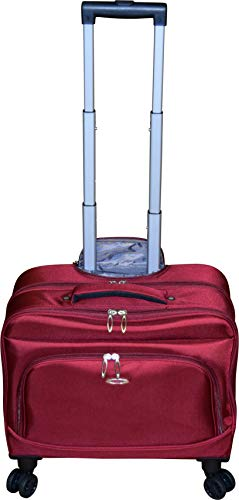 Lightweight Lined Briefcase - Kemyer Small Overnighter Rolling Spinner Briefcase with Tablet Compartment Black (Red-Berry)