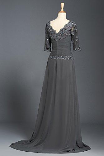 Bridal_Mall - Robe - Trapèze - Manches Courtes - Femme Gris Gris 34 -  Gris - 36