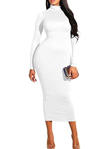 GOBLES Women's Sexy Turtleneck Long Sleeve Elegant Bodycon Party Long Dress -