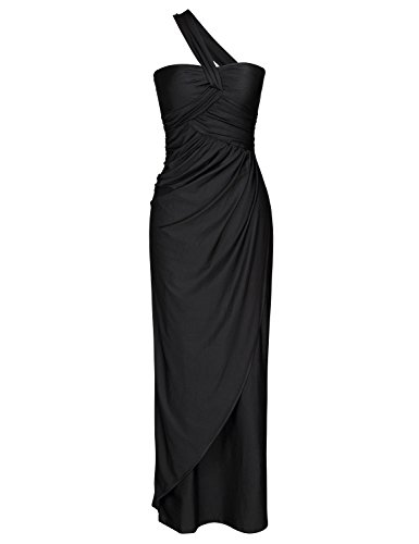 JUESE Women's Vintage 1950's Maxi Evening Party Black Tee Dress (S,Black)
