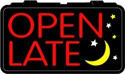 lighted imitation neon sign open late business and store sign. Black Bedroom Furniture Sets. Home Design Ideas
