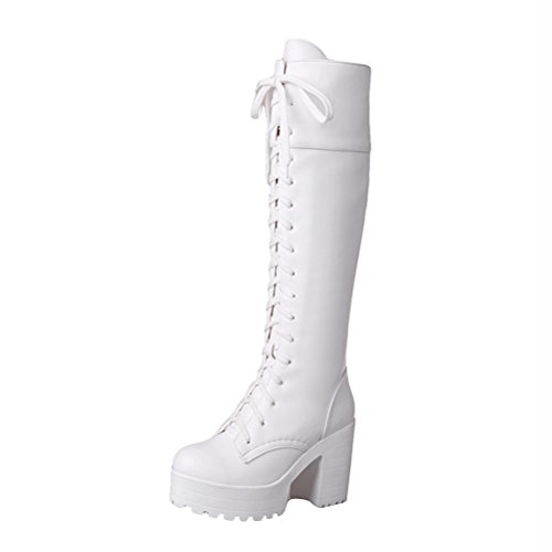 Agodor Womens Knee High Lace Up Platform High Chunky Heel Tall Boots With Zip Round Toe Warm Shoes White a8krS7gaN