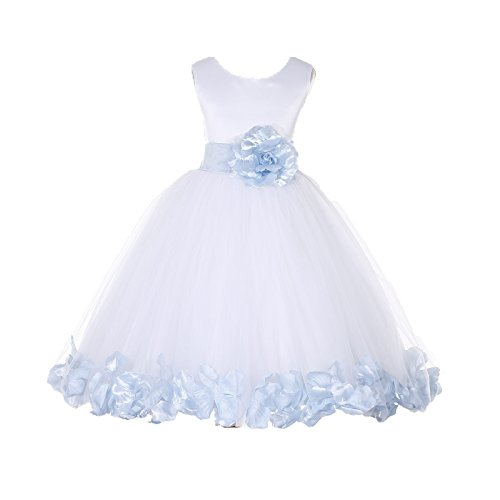 ekidsbridal White Floral Rose Petals Flower Girl Dress Birthday Girl Dress Junior Flower Girl Dresses 302s (Make Crinoline Petticoat)